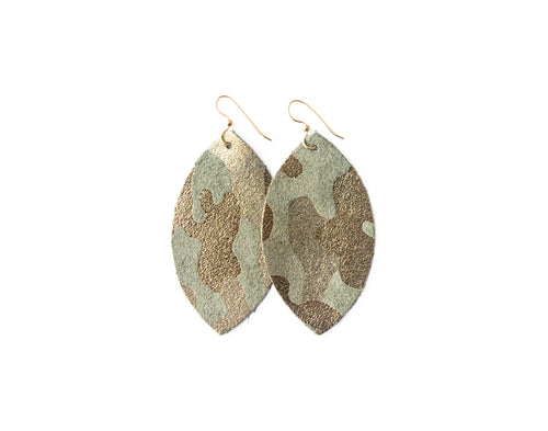 Glamper Green Leather Earrings