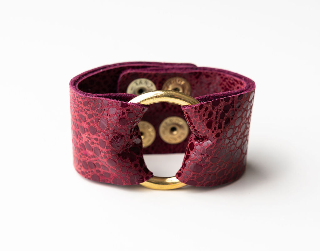 Wine Speckled Wide Leather Cuff with Hardware