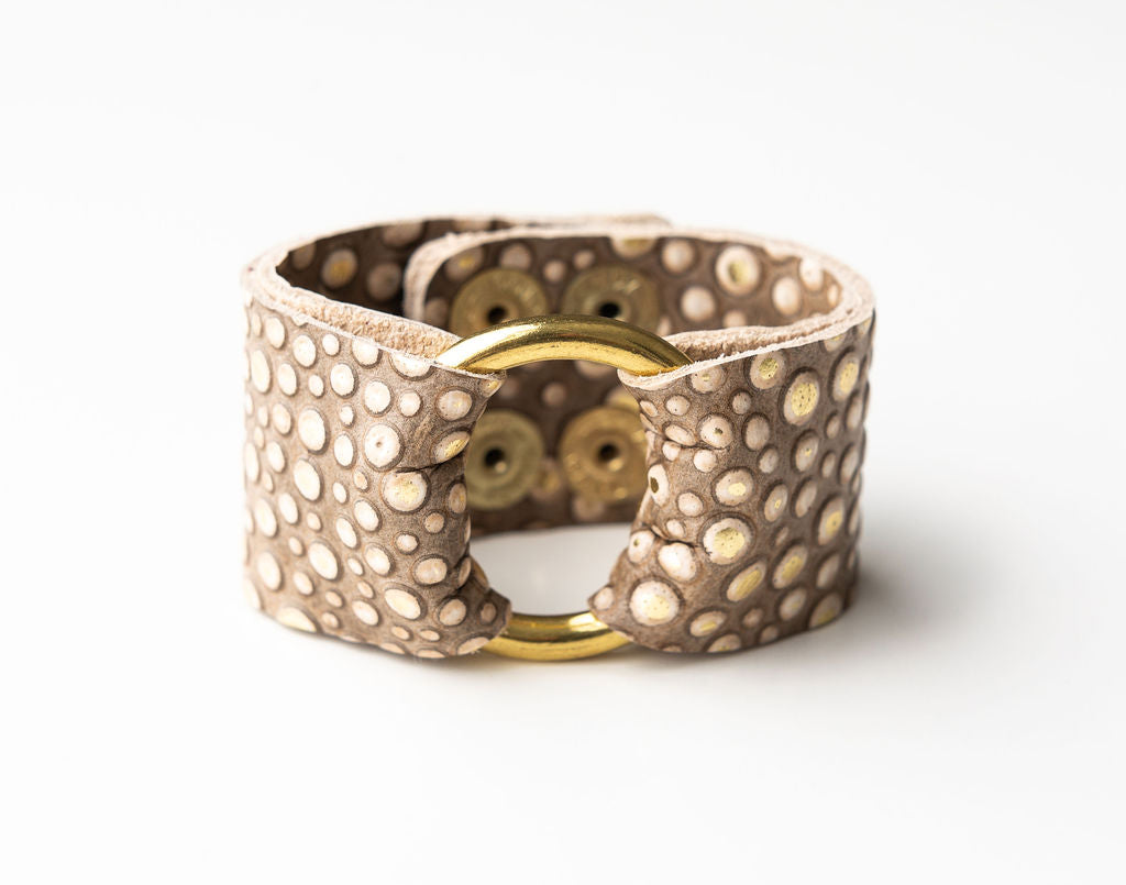Gold Bubbly Leather Cuff