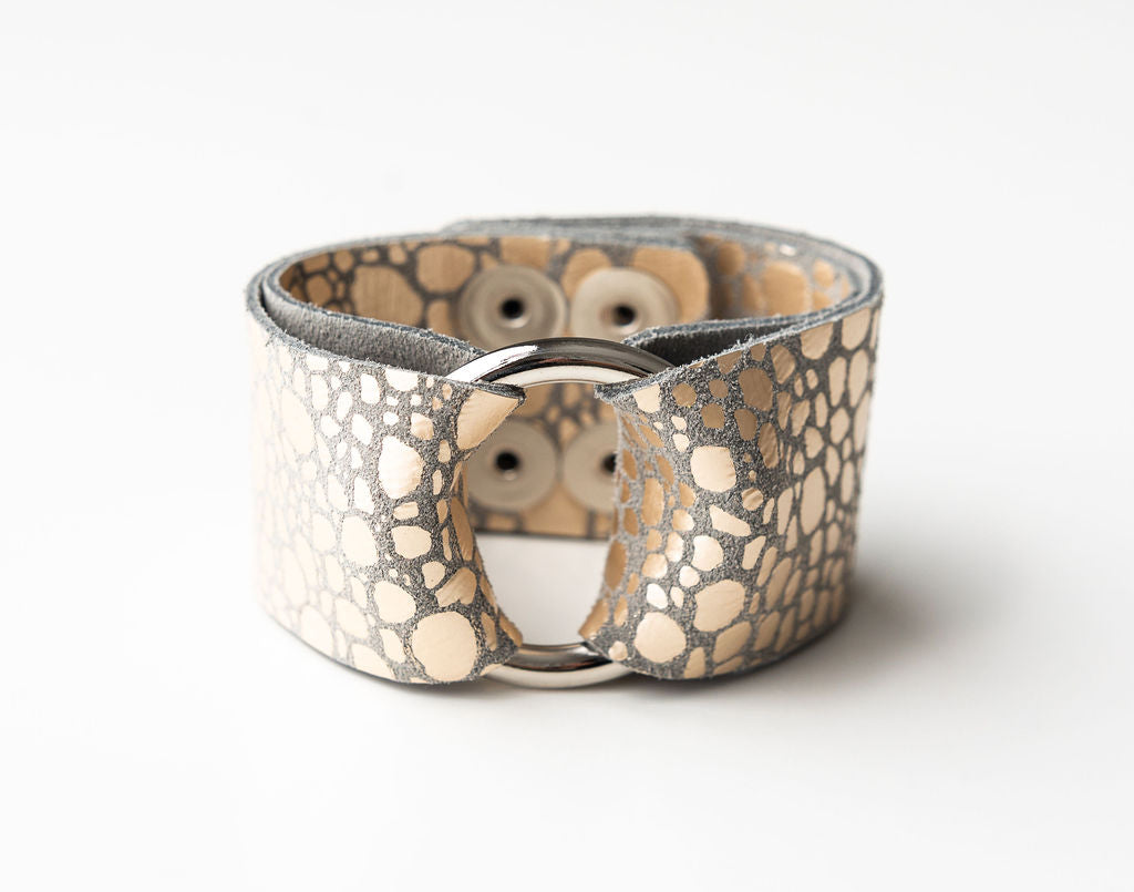 Pebbles in Platinum Wide Leather Cuff with Hardware