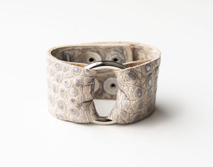 Stone Grey Wide Leather Cuff with Hardware