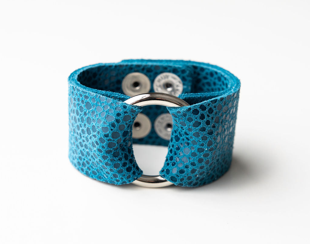 Turquoise Speckled Wide Leather Cuff with Hardware