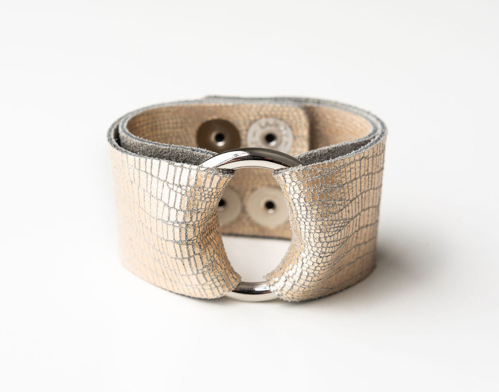 Speckled Shimmer in Cream Leather Cuff