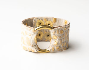 Cream and Gold Croc Wide Leather Cuff with Hardware