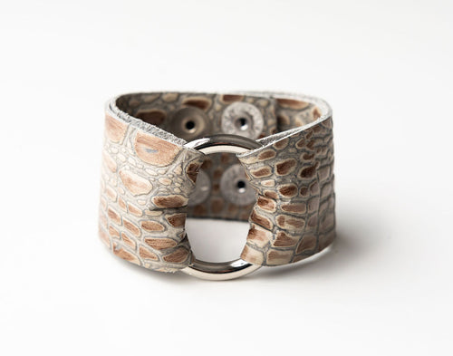 Light Stone Wide Leather Cuff with Hardware
