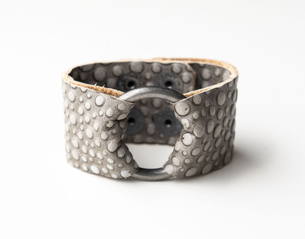 Silver Bubbly Wide Leather Cuff with Hardware
