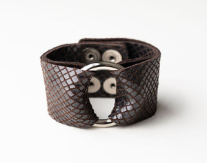 Boa in Espresso Brown Wide Leather Cuff with Hardware