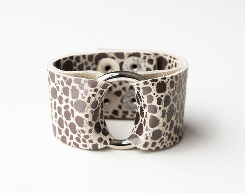 Pebbles in Silver Wide Leather Cuff with Hardware