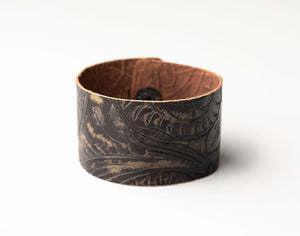 Carved Dark Brown Wide Leather Cuff