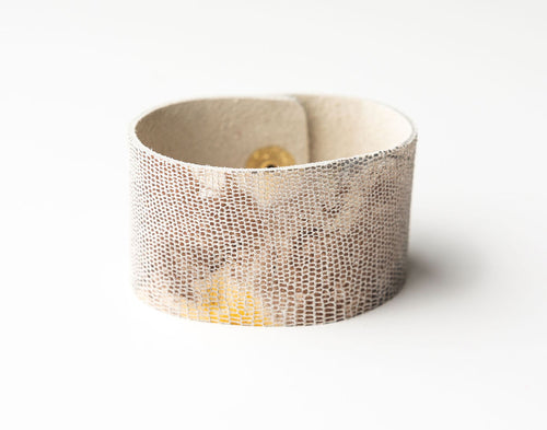 Blend of Metallic Shimmer Wide Leather Cuff