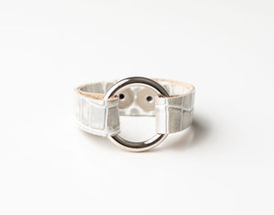 Cobblestone White Leather Bracelet