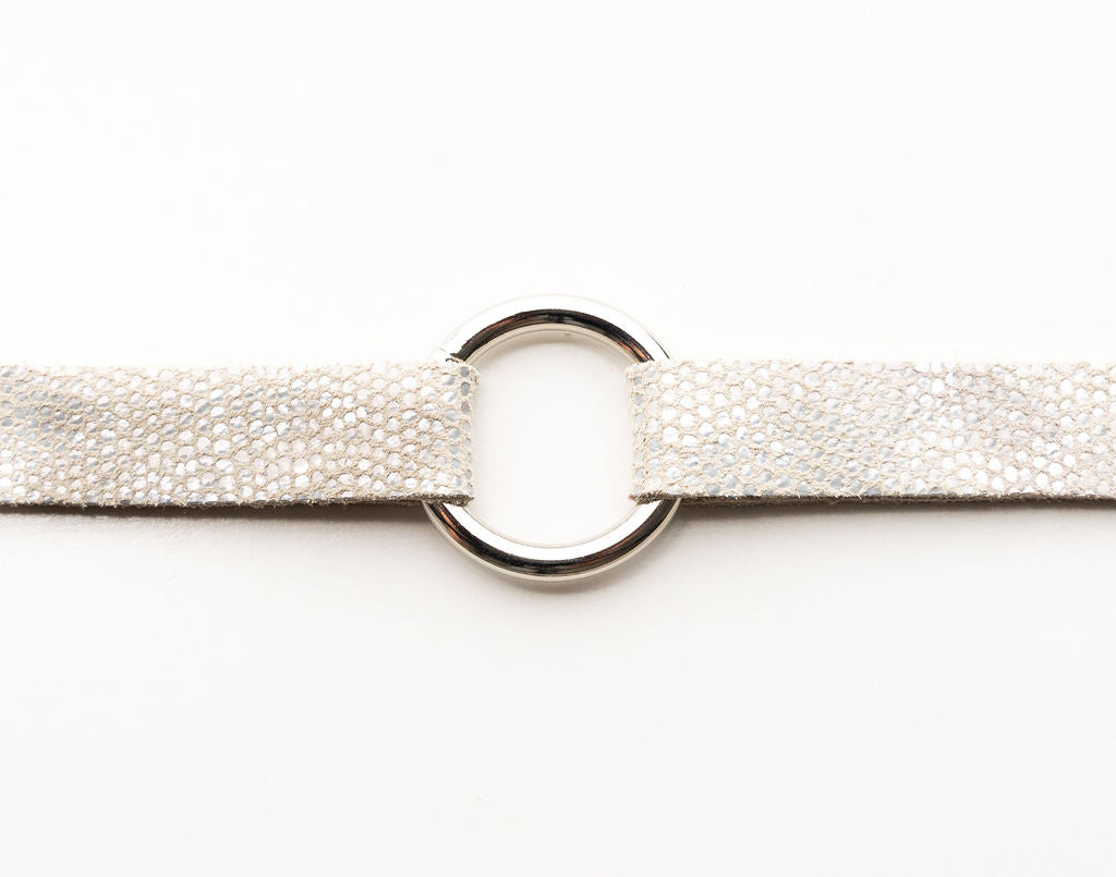 White Speckled Leather Bracelet