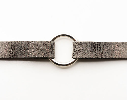 Brush Stroke in Black and Taupe Leather Bracelet