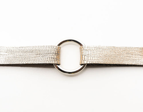 Speckled Shimmer in Cream Leather Bracelet