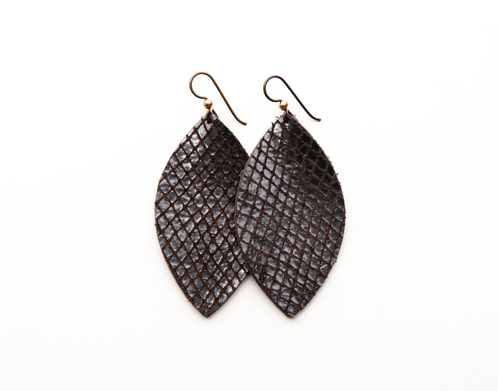 Boa Espresso Leather Earrings