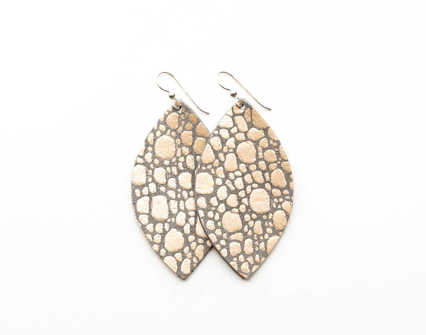 Pebbles in Platinum Leather Earrings