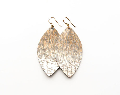 Speckled Shimmer in Cream Leather Earrings