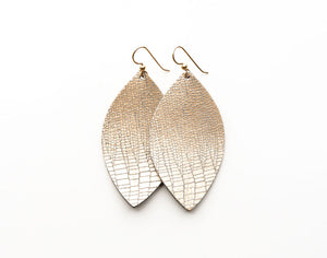 Shimmer in Cream Leather Earrings