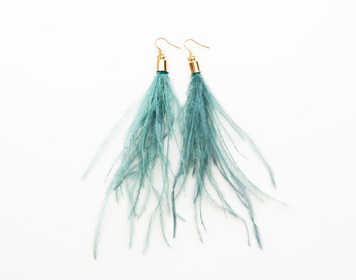 Feathers by KEVA in Green - Maya Feather Earrings