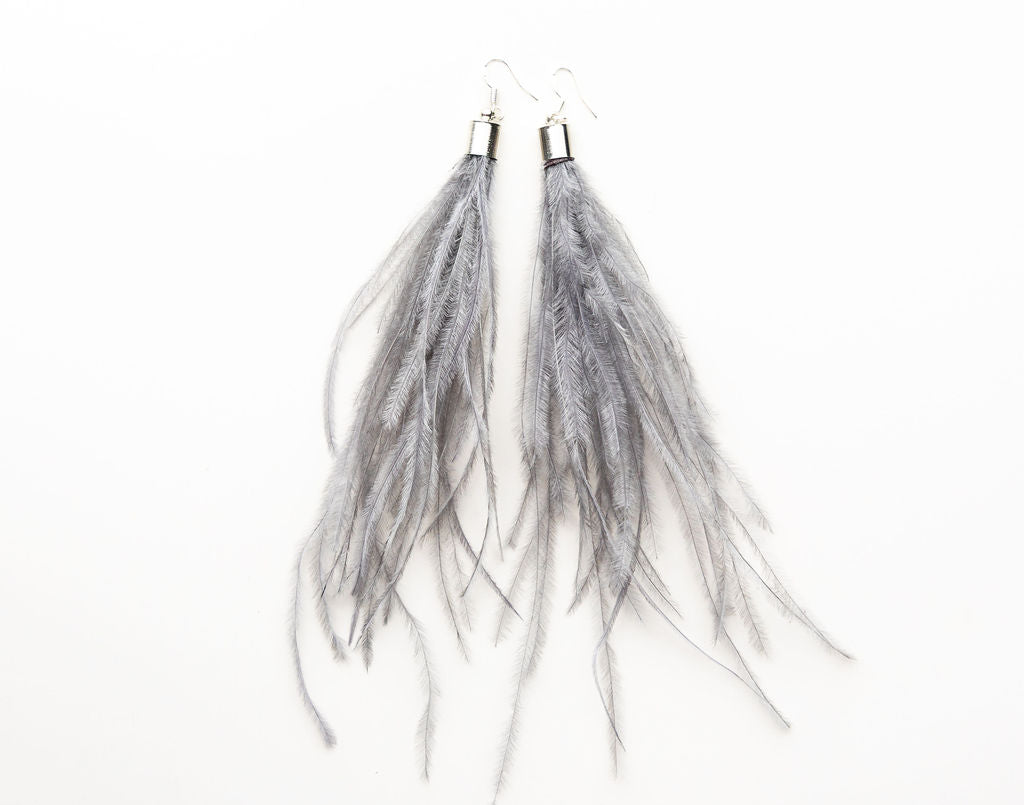 Feathers by KEVA in Grey - Amelia Feather Earrings