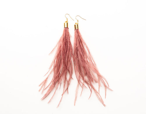 Feathers by KEVA in Rose - Dolly Feather Earrings