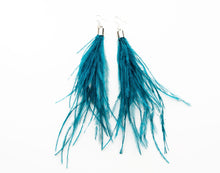 Load image into Gallery viewer, Feathers by KEVA in Teal - Oprah Feather Earrings