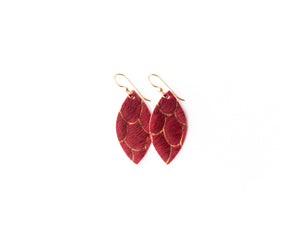 Scalloped in Red Leather Earrings