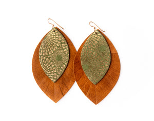 Green Starburst with Brown Fringe Base | Double Layer Leather Earring