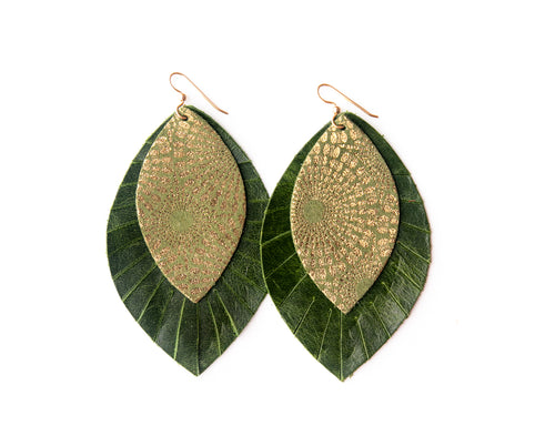 Green Starburst with Dark Green Fringe Base | Double Layer Leather Earring