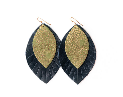 Green Starburst with Navy Fringe Base | Double Layer Leather Earring