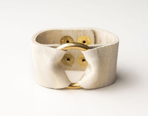 Gold Brush on White Leather Cuff