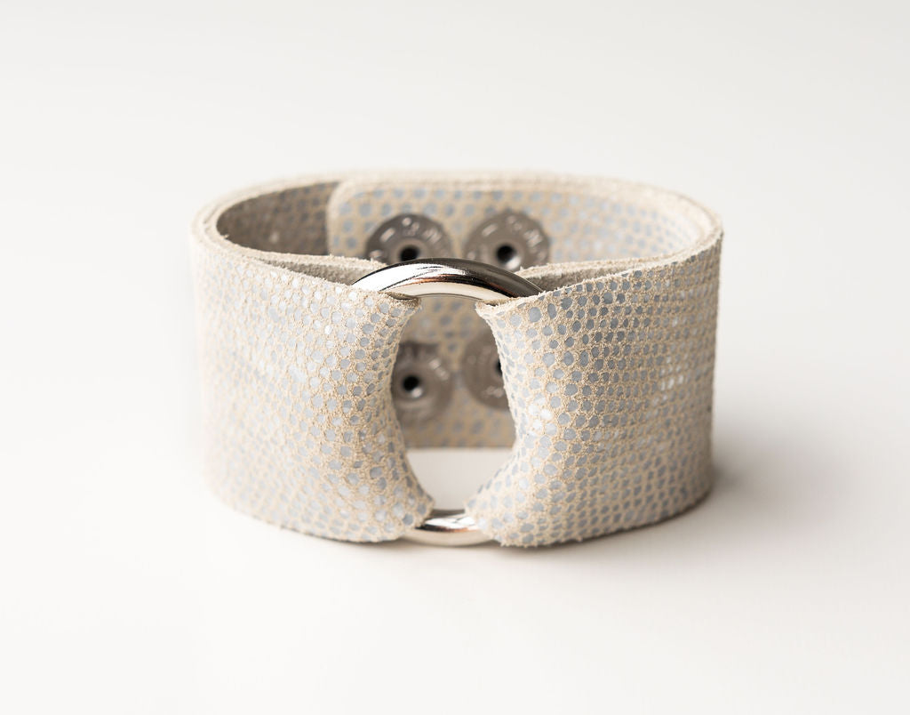Silver and White Speckled Leather Cuff