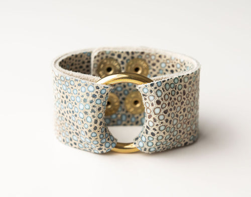 Multi Speckled Wide Leather Cuff with Hardware
