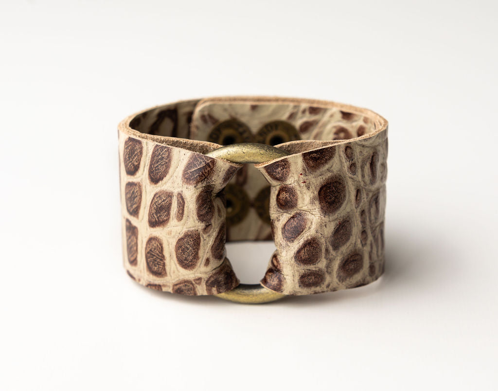 Brown Spotted Leather Cuff