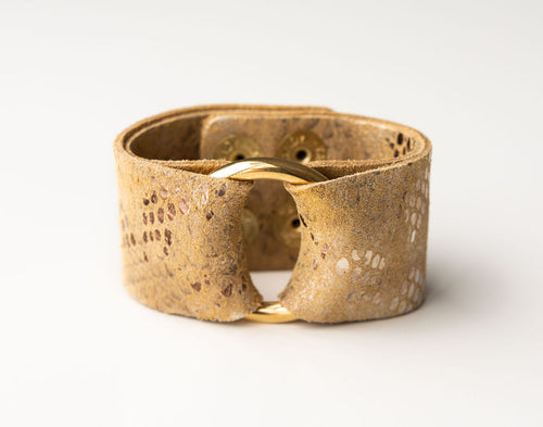 Glamour Boa in Gold Wide Leather Cuff with Hardware