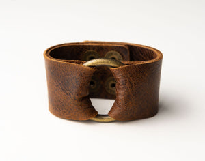 Classic Dark Brown Wide Leather Cuff with Hardware