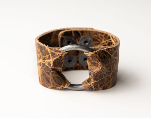 Brown's Island Wide Leather Cuff with Hardware