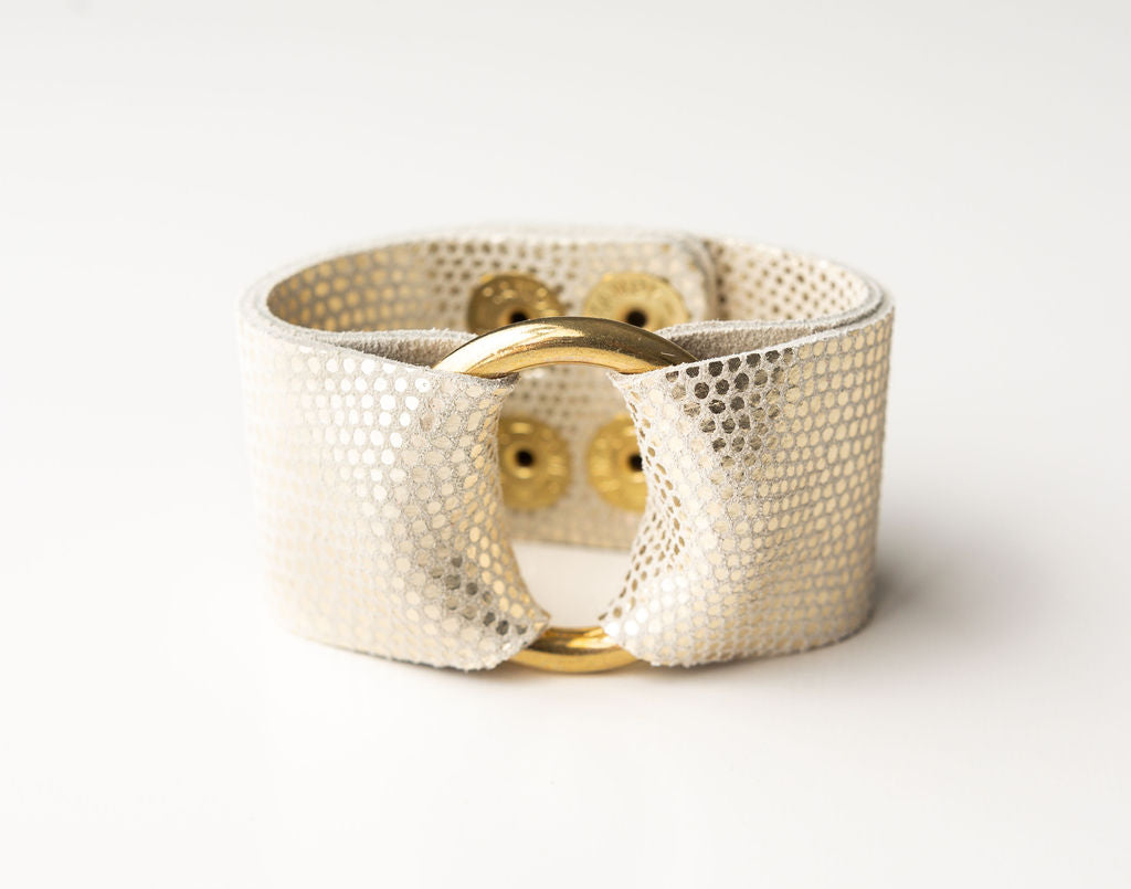 White and Taupe Speckled Leather Cuff