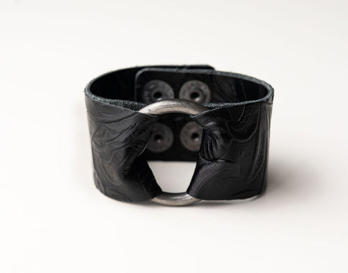 Belle Island Wide Leather Cuff with Hardware