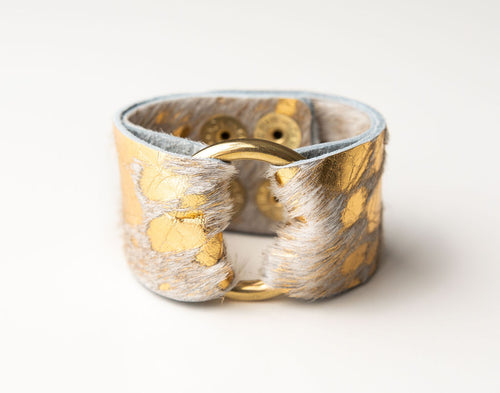 Gold Foil Wide Leather Cuff with Hardware