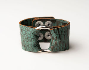Turquoise and Bronze Wide Leather Cuff with Hardware