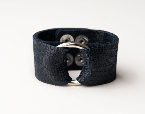 Navy Shimmer Leather Cuff