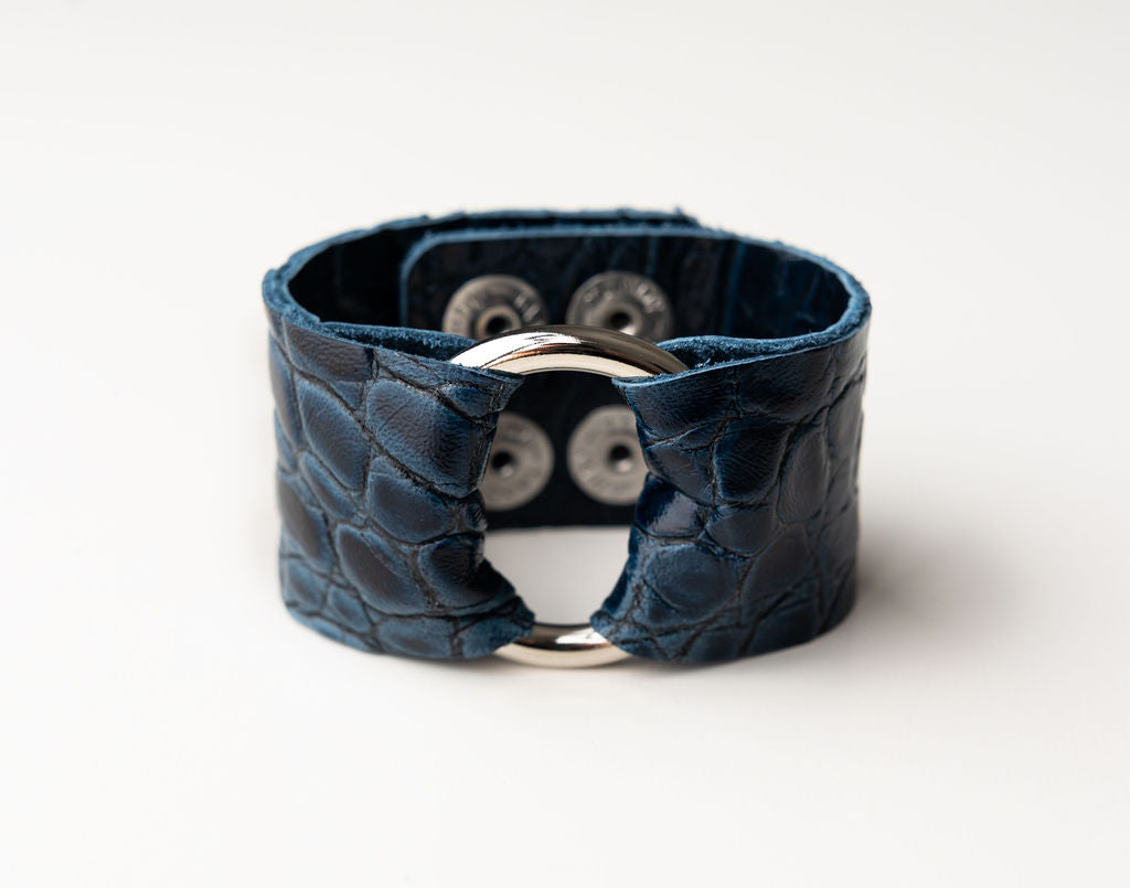 Deep Blue and Black Wide Leather Cuff with Hardware