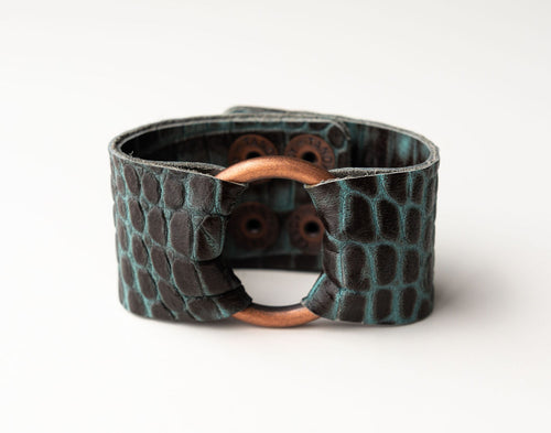Spotted in Black with Teal Wide Leather Cuff with Hardware