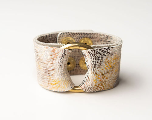 Blend of Metallic Shimmer Wide Leather Cuff with Hardware