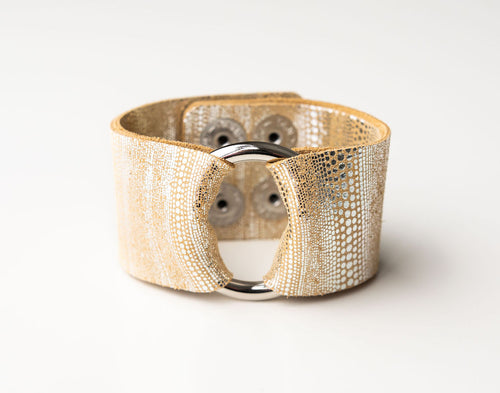 Luna in Gold and Silver Wide Leather Cuff with Hardware