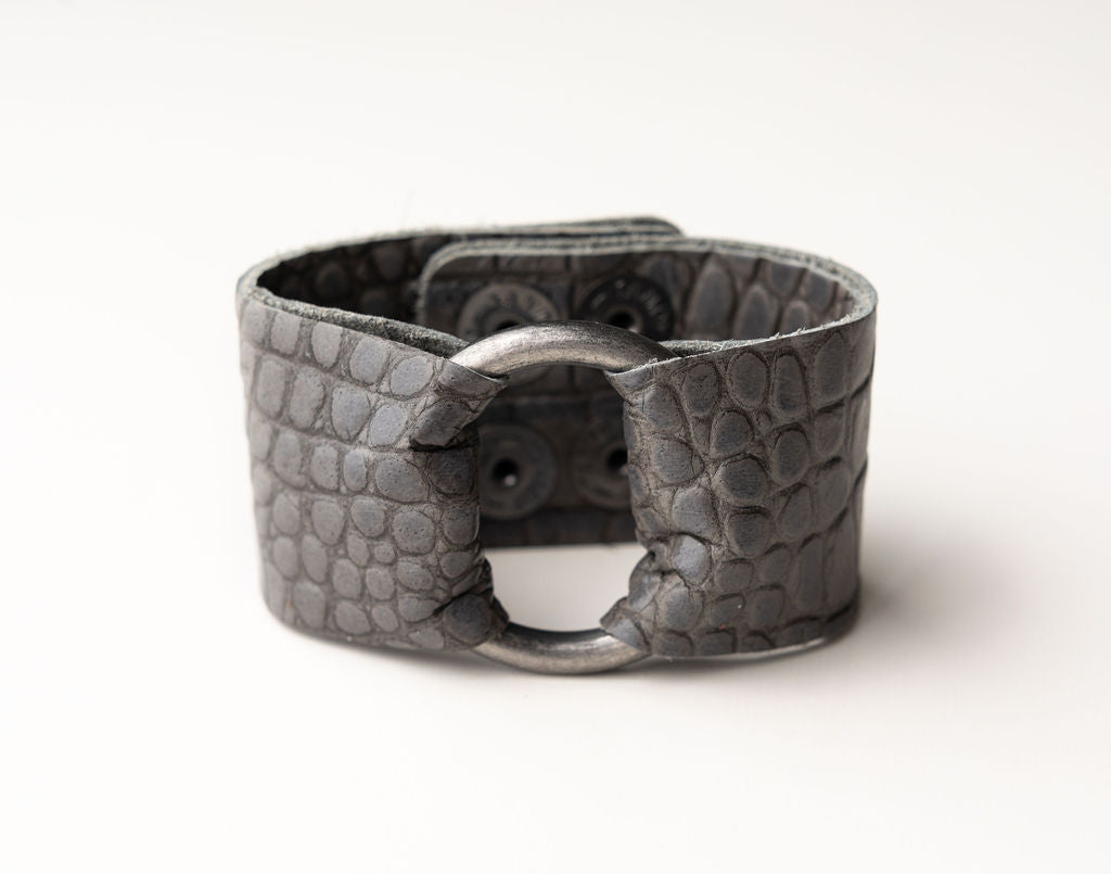 Cobblestone in Gray Leather Cuff