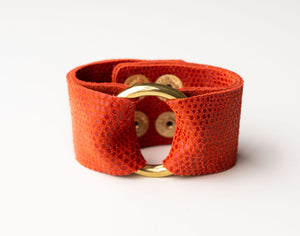 Coral Speckled Wide Leather Cuff with Hardware