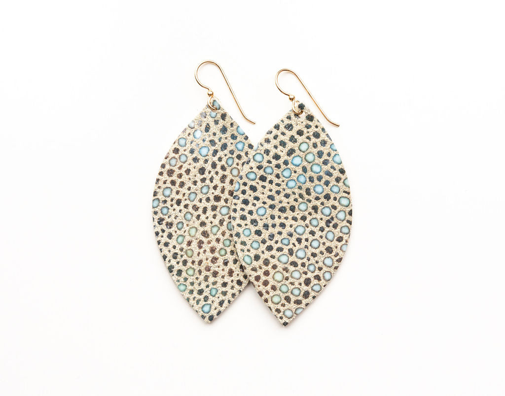 Light Blue Speckled Leather Earrings