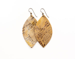 Glamour Boa in Gold  Leather Earrings